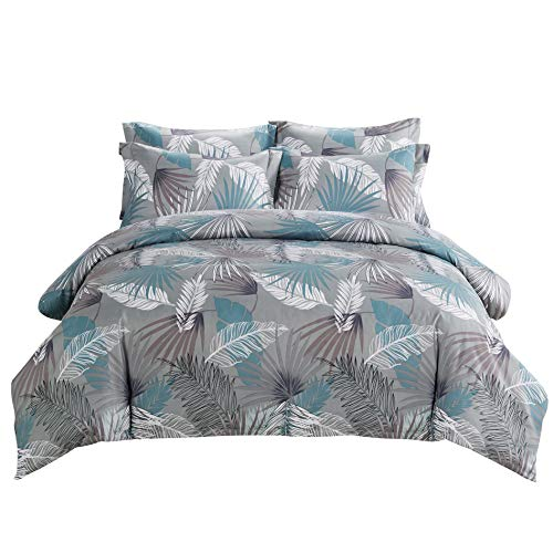 (DelbouTree Microfiber Duvet Cover Set,Printed Leaf Comforter Cover Set with Corner Ties,Zipper Closure,Grey Quilt Cover Queen 90 by 90 inch)