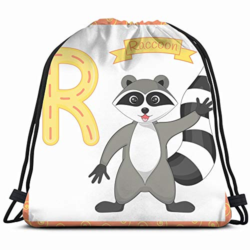 Isolated Animal Alphabet R Raccoon Animals Wildlife A Z Education Drawstring Backpack Gym Sack Lightweight Bag Water Resistant Gym Backpack For Women&Men For Sports,Travelling,Hiking,Camping,Shopping