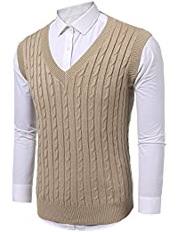 Mens Casual Knitted Sweater Slim Fit Pullover Cable Sweater Links-Vest