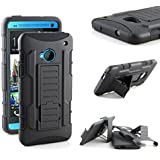 HTC ONE M7 Case, RANZ Classic Black Rugged Impact Armor Hybrid Kickstand Cover with Belt Clip Holster Case For HTC ONE M7
