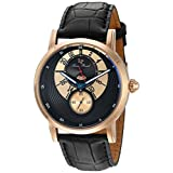 Lucien Piccard Men's 'Santorini' Quartz Stainless Steel and Leather Automatic Watch, Color:Black (Model: LP-40043-RG-01)
