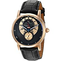 Lucien Piccard Men's 'Santorini' Quartz Stainless Steel and Leather Watch, Color:Black (Model: LP-40043-RG-01)