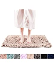 """FRESHMINT Chenille Bath Rugs 1.65"""" Piles Extra Soft Fluffy and Absorbent Shag Rug, Non-Slip Runner Carpet for Tub Bathroom Shower Mat, Machine-Washable Durable Thick Area Rugs (16.5"""" x 24"""",Beige)"""