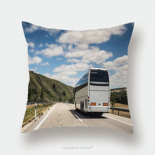 Custom Satin Pillowcase Protector A White Coach Or Long Haul Bus For Tourists Drives Through The Open Roads Of Spain Europe On A 361517306 Pillow Case Covers Decorative by chaoran