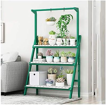 ZENGAI Estante De Maceta Soporte for Plantas De 3 Capas De Pie, Diseño De Varilla Colgante, Plegable, Decoración, Balcón Salón Jardín Jardinería (Color : Green, Size : H142cm): Amazon.es: Jardín