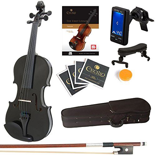 Mendini 4/4 MV-Black Solid Wood Violin with Tuner, Lesson Book, Shoulder Rest, Extra Strings, Bow and Case, Metallic Black Full Size