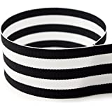 """1-1/2"""" Black & White Taffy Striped Grosgrain Ribbon - 20 Yards - USA Made - (Multiple Widths & Yardages Available)"""