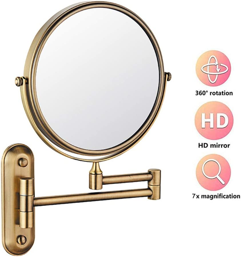 YYRZ Wall Mounted Bathroom Mirror with 7X Magnifying 8 Inch Round Shaped Wall Mount Vanity Mirror Double-Sided for Bathroom Shaving Make Up,brushed nickel 360 Rotation Makeup Mirror
