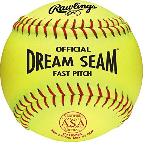 Rawlings Official ASA NFHS Dream Seam Fastpitch Softballs, 12 Count, C11RYSA ()
