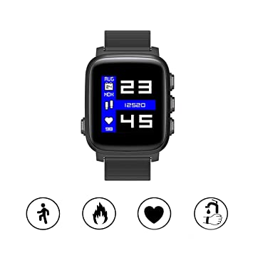 PRIXTON Smartwatch SWB31 - Reloj Inteligente Sumergible con Pulsómetro y 50 Watchfaces, Color Negro