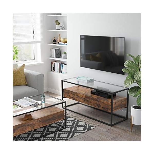 VASAGLE Meuble TV pour télévision Jusqu'à 55 Pouces, Support télé avec 2 tiroirs, Buffet, Dessus en Verre trempé, Stable…