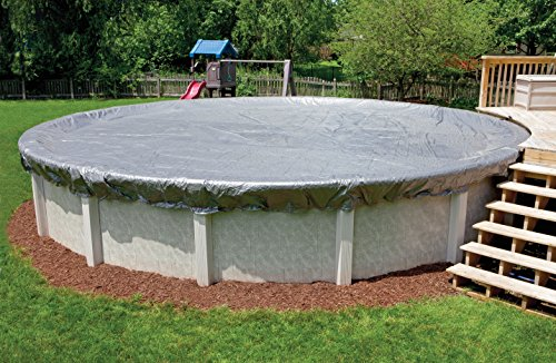 In The Swim Midwest Canvas 15 ft Round Swimming Pool Winter Cover, 16-Year Warranty