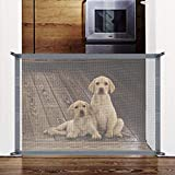 Accmor Magic Gate, Portable Folding Pet Safety Gate Mesh Magic Gate for Dogs with Removable Hook, Pet Safety Enclosure Install Anywhere