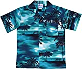 RJC Boy's Waimea Sunset Hawaiian Shirt Turquoise 12