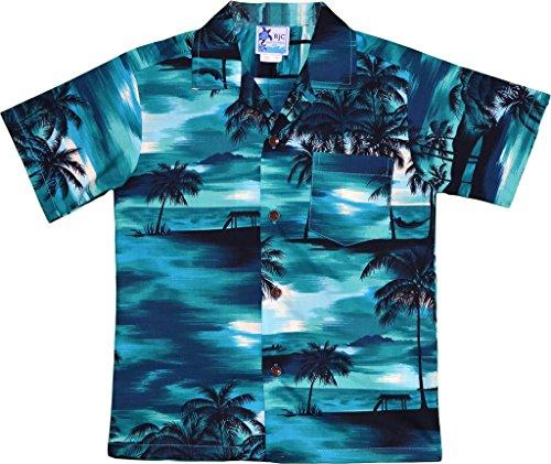 RJC Boy's Waimea Sunset Hawaiian Shirt Turquoise 6