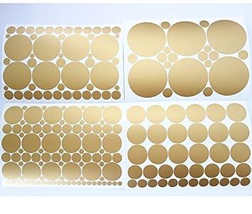 Amazoncom Set Of Metallic Gold Circles Polka Dots Vinyl Wall - Wall decals gold dots