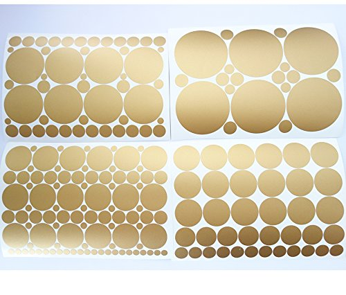 Set of 251 Metallic Gold Circles Polka Dots Vinyl Wall Decals Stickers [Peel and Stick Graphic Mural Decal Circle Dot Kit Appliques]