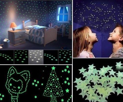 Syga 'Glow in The Dark Stars' Wall Sticker (PVC Vinyl, 10 cm x 10 cm x 2 cm, Light Green)