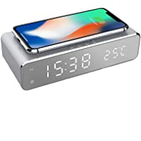 Mellion LED Alarm Clock Time Temperature Display Wireless Charger Charging Pad Dock, Qi-Certified for iPhone 11, 11 Pro…