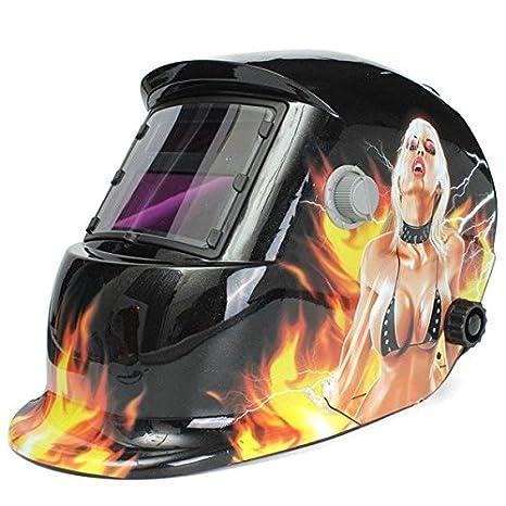 PhilMat Chica sangrienta oscurecimiento auto solar máscara casco del soldador de soldadura eléctrica de soldadura TIG máscara lente soldador mig: ...