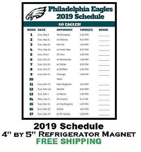 Eagles Schedule 2019 Amazon.com: Philadelphia Eagles NFL Football 2019 Schedule and