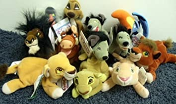 Rare Disney Lion King Complete Set of 12 Plush Bean Bag 8 Inch Dolls Including Simba