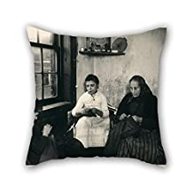 slimmingpiggy cushion covers 18 x 18 inches / 45 by 45 cm(2 sides) nice choice for lounge,teens girls,divan,home theater,lover,gf oil painting Jacob A. Riis - Sewing pants for the Sweater's in Gotha