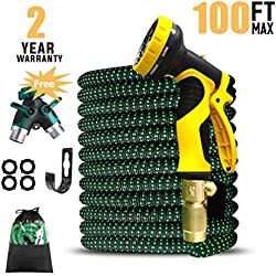 """UK BONITOYS 100ft Expandable Garden Hose, Water Hose with 3/4"""" Solid Brass Connectors Fittings and 9 Pattern Spray Nozzle, Outdoor Flexible Expanding Hose with Extra Garden Hose Splitter"""