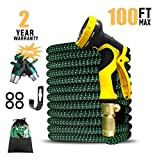 UK BONITOYS 100ft Expandable Garden Hose, Water Hose with 3/4'' Solid Brass Connectors Fittings and 9 Pattern Spray Nozzle, Outdoor Flexible Expanding Hose with Extra Garden Hose Splitter