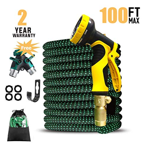 UK BONITOYS 100ft Expandable Garden Hose, Water Hose with 3/4″ Solid Brass Connectors Fittings and 9 Pattern Spray Nozzle, Outdoor Flexible Expanding Hose with Extra Garden Hose Splitter
