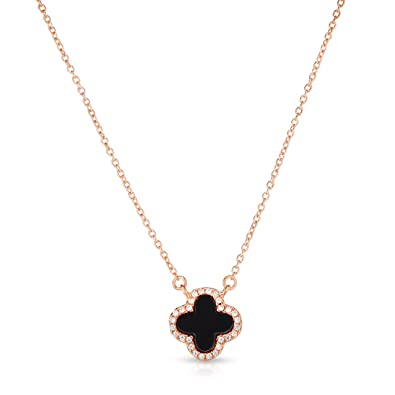 feab742fc9 Amazon.com: Unique Royal Jewelry Little Sterling Silver Black Onyx and  Cubic Zirconia Four Leaf Clover Necklace with Adjustable Length. (14K Rose  Gold ...