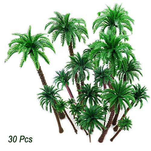 Hatisan 30Pcs Coconut Palm Model Trees/Scenery Model Plastic Artificial Layout Rainforest Diorama, Building Model Trees Cake Topper, Model Train Railways Architecture Landscape (Dark Trunk)