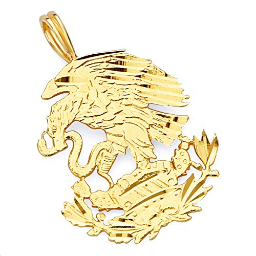 - Wellingsale 14K Yellow Gold Polished Diamond Cut Ornate Mexican Eagle Pendant