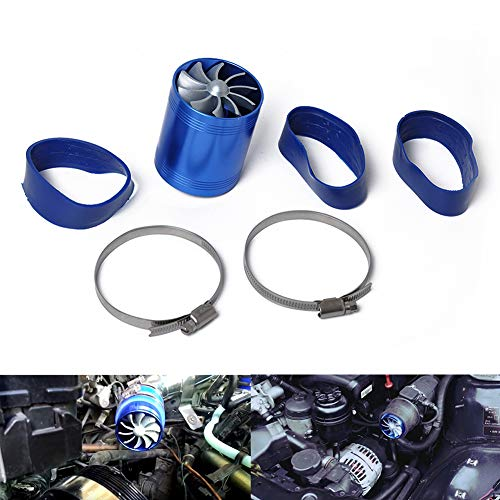 nieliangw0q Car Double Dual Turbo Air Intake Hose Gas Fuel Saver Fan Supercharger Turbine - Blue: