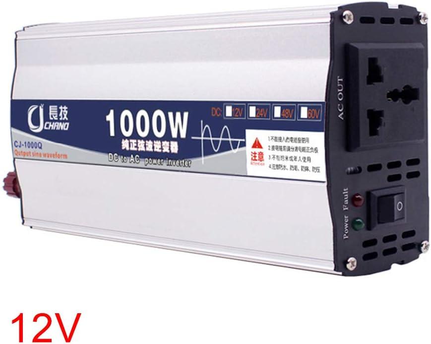 GCDN 600W 1000W Inversor de energía de Onda sinusoidal Pura DC 12V 24V a CA 220V con Puerto USB Inteligente Integrado Adaptador de Coche práctico(12V 1000W)