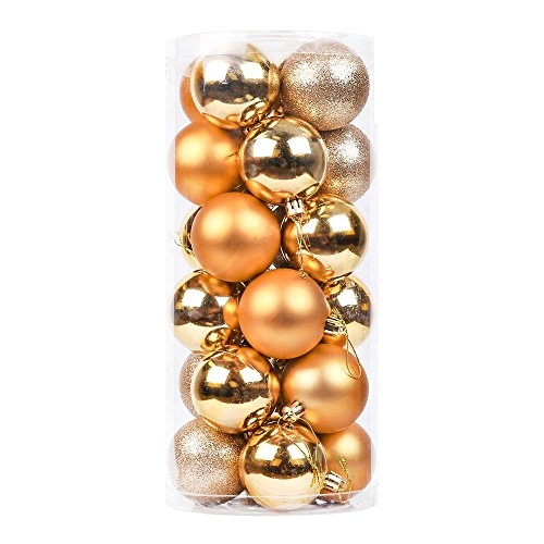 DegGod 24 Pcs 60mm/2.36inches Christmas Balls Baubles Ornaments, Shatterproof Shiny Matte Glittering Christmas Tree Hanging Ball Set for Xmas Tree Decorations (Gold)