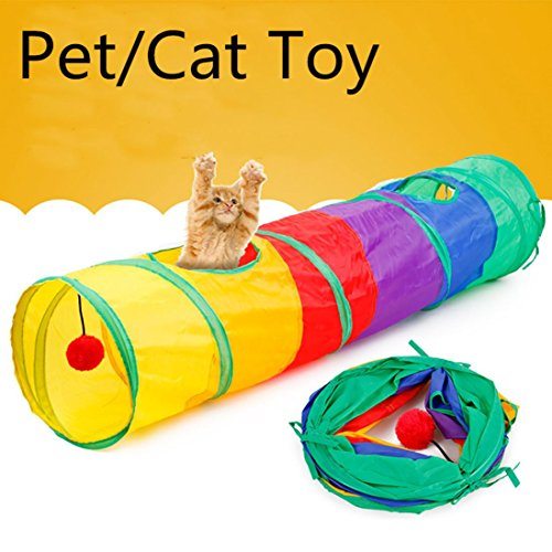 NewKelly Pet Tunnel Cat Printed Green Crinkly Kitten Tunnel Toy With Ball Play Fun Toy by NewKelly (Image #2)