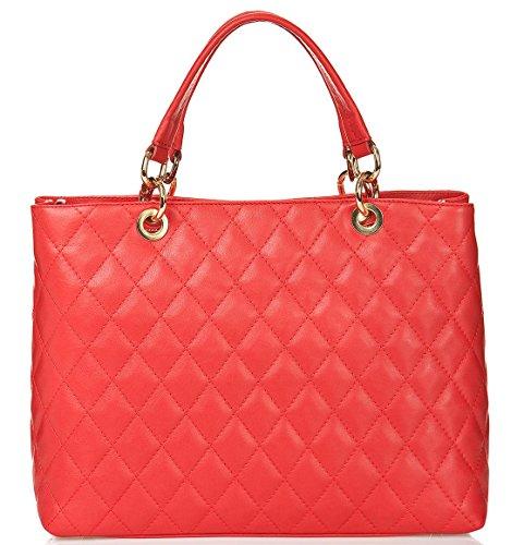fabriqué Sac femme Italie Carele piqué cuir véritable en rouge Bottega en 6q7SwYf5wx