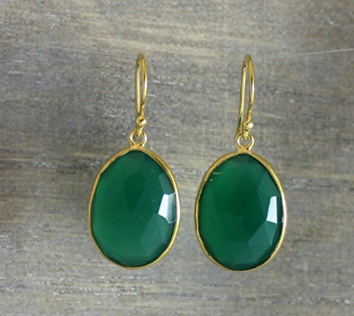Green Onyx Gemstone Gold Plated Sterling Silver Earrings Graduation Gift ()