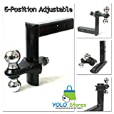 6 Position Adjustable Trailer 8'' Drop w/ 2'' & 2-5/16'' Hitch Ball Mount Receiver By YOLO Stores