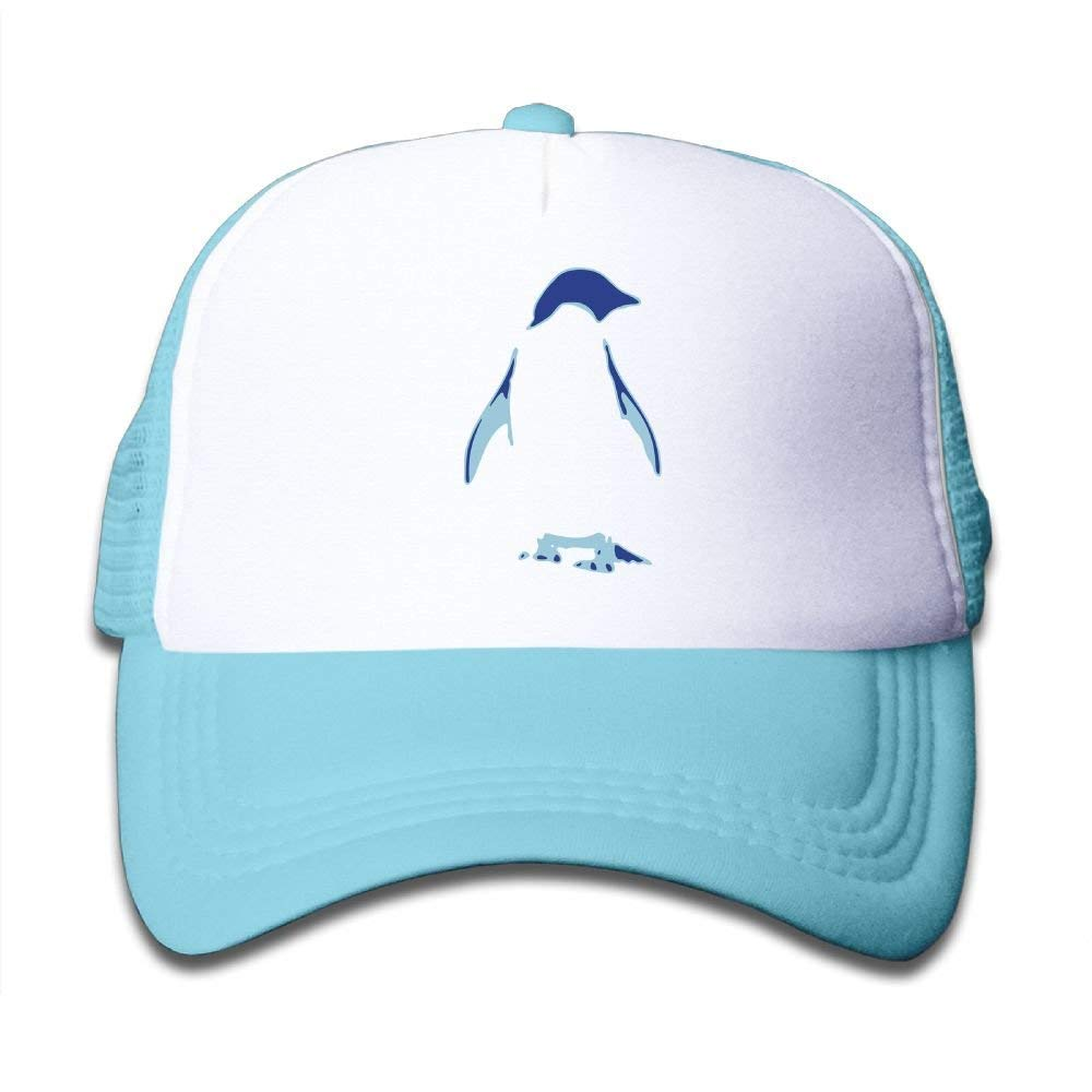 FEAIYEA Adjustable Boy Girls Cute Penguin Blue Baseball Cap Mesh Kids Hats