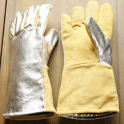 High Visibility Welding Gloves With Reflective Strip Heat and Fire Resistant Reflective Aluminum Cowhide Safety Gloves 14'' XL with Kevlar Stitching (Silver) by GENERIC (Image #2)