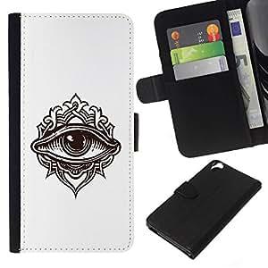 // PHONE CASE GIFT // Moda Estuche Funda de Cuero Billetera Tarjeta de crédito dinero bolsa Cubierta de proteccion Caso HTC Desire 820 / Detailed Eye Illustration /