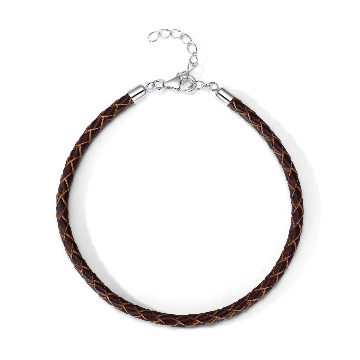 T400 Black Brown Red Pink White Bangle Charm Braided Bracelet Genuine Cowhide Leather Wristband for Unisex Women Men Beads Gift
