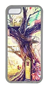 iPhone 5C Case & Cover - Painting Girl Animal Tree Hard Plastic Case for iPhone 5C - TPU - Transparent