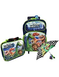 """Pixar The Good Dinosaur Arlo and Spot 16"""" Large Rolling Backpack, Lunch Bag and Umbrella Set"""