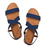Rekayla Flat Elastic Sandals Women Navy Blue 08