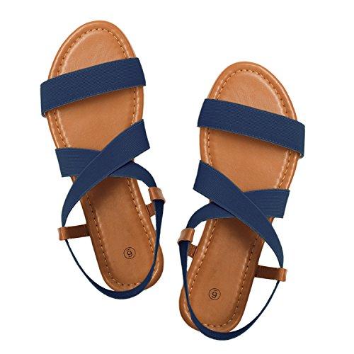 Rekayla Flat Elastic Sandals Women Navy Blue 08 by Rekayla