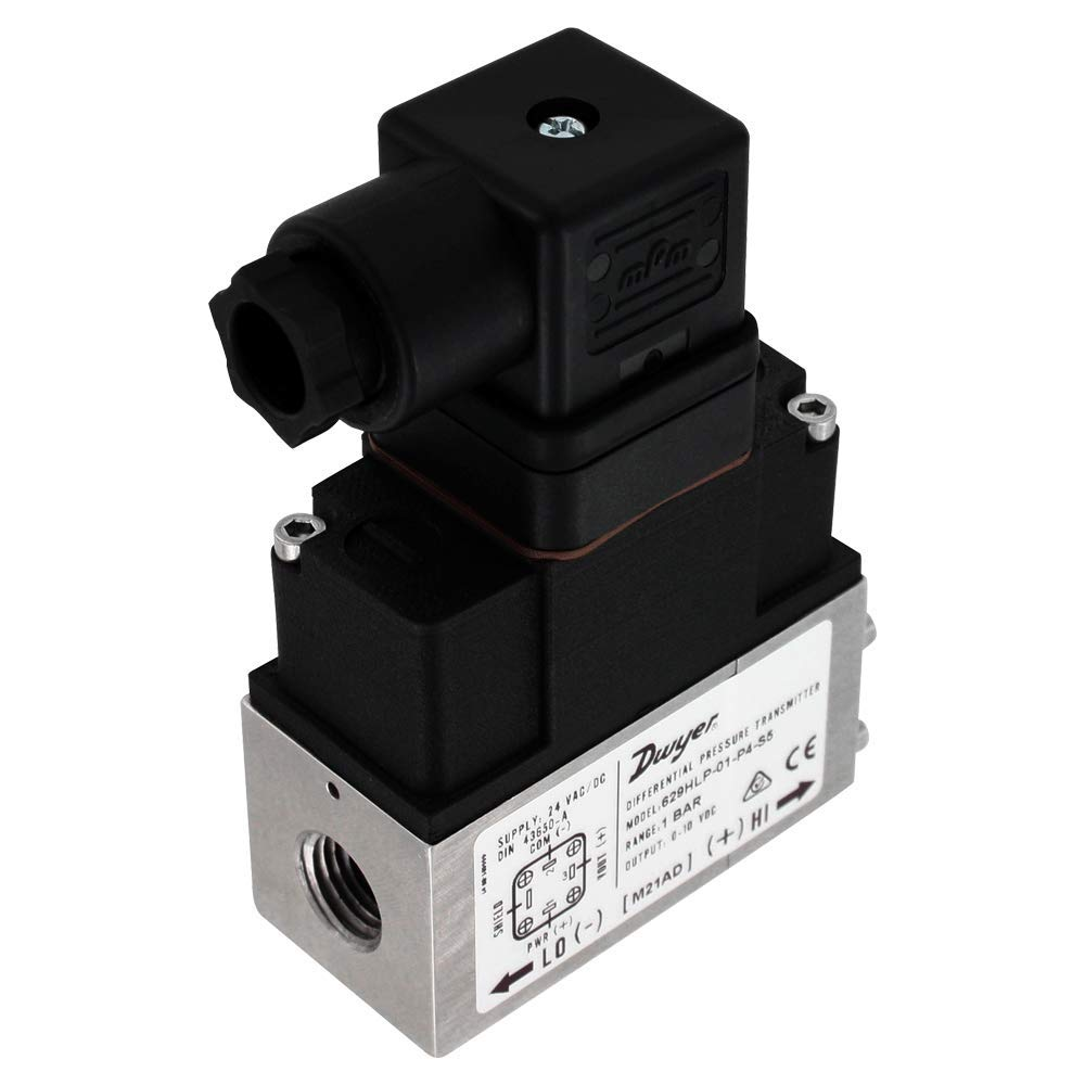 High Accuracy 1//4 Female NPT Dwyer 629HLP Differential Pressure Transmitters 4-20mA 629HLP-02-P2-S1 IP65 Enclosure 0 to 2.5 Bar