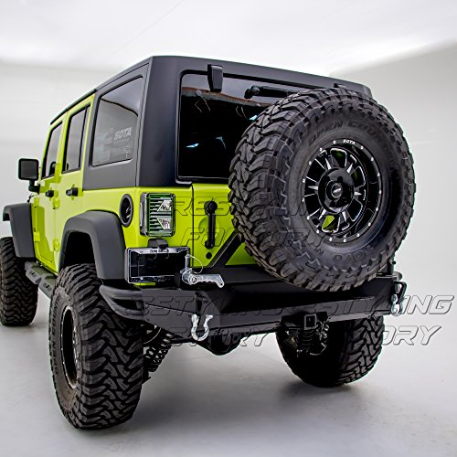 Restyling-Factory-07-16-Jeep-Wrangler-JK-Heavy-Duty-Rock-Crawler-Full-Width-Rear-Bumper-with-Tire-Carrier-and-2-Hitch-Receiver-Textured-Black